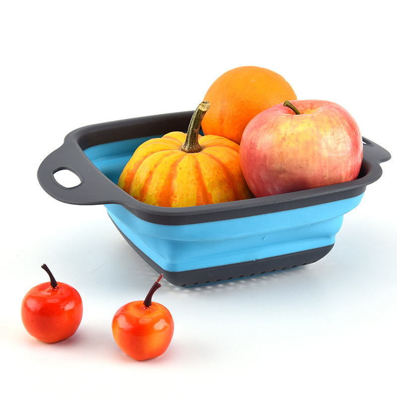 Folding Drain Basket Creative Telescopic Water Basket Fruit Storage Portable Silicone Kitchen Vegetable Basket Fruit Tray