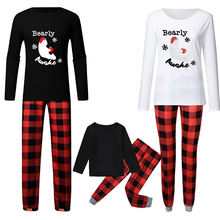Customizable Plaid Pattern Family Christmas Pajamas Snowman Bear Including Pet Set Family Sleepwear