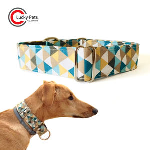 Adjustable fabric greyhound dog martingale collar with buckle