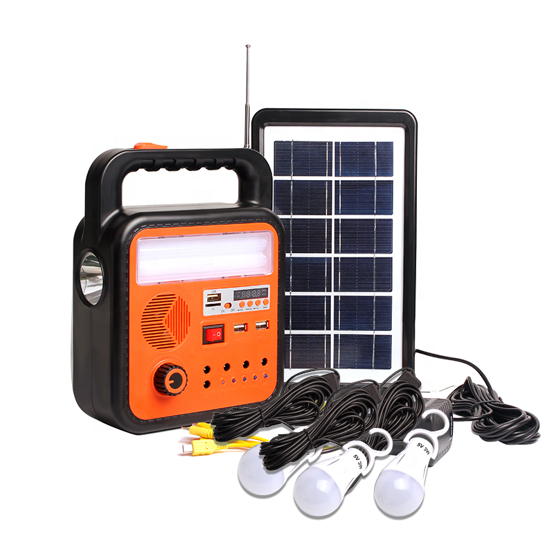 Kinsach Portable Mini Outdoor Camping Solar Power Lighting Kits and Solar Energy System with Bluetooth Speaker and Radio