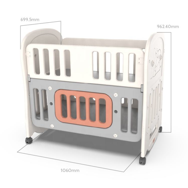 ABST Children Furniture Factory Newborn Baby Modern Multifunctional bed Non-Toxic Plastic Storage Safety Rocking Crib Baby Cot