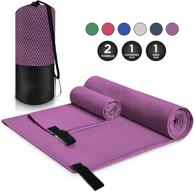 Custom Logo Quick Dry In Buck Thick Square Small Print Logo Malaysia Microfiber Yoga Hand Gym Suede Towels