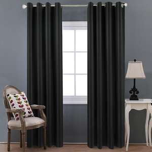Modern Living Room Bedroom Ready Made Plain Fabric Drapes Blackout Curtain For Window