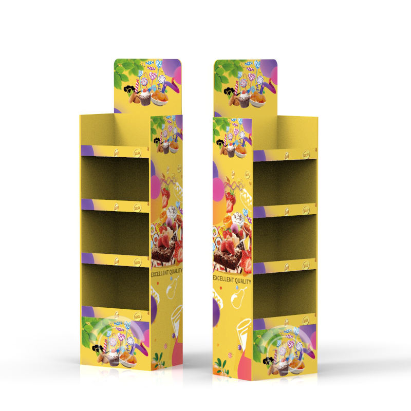 Promotion [ Bread Display Rack ] Cardboard Display Shelves Free Samples Nut Bread Merchandise Floor Display Rack Cardboard Cake Bread FSDU Paper Floor Display Shelf For Breakfast Shop