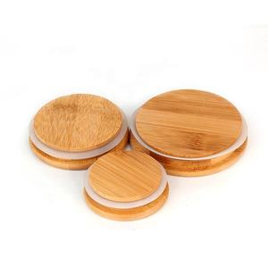 Customize different size bamboo wood lids for glass candle jar canister storage jar