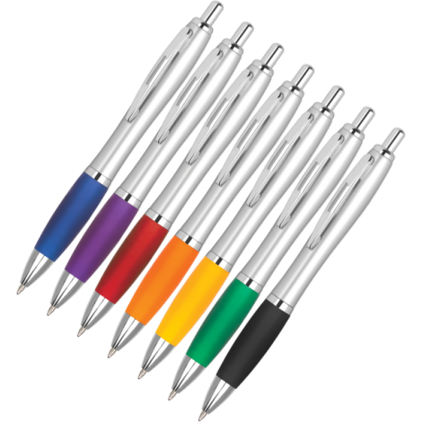 custom silver logo ball point pen in fast order and in low moq