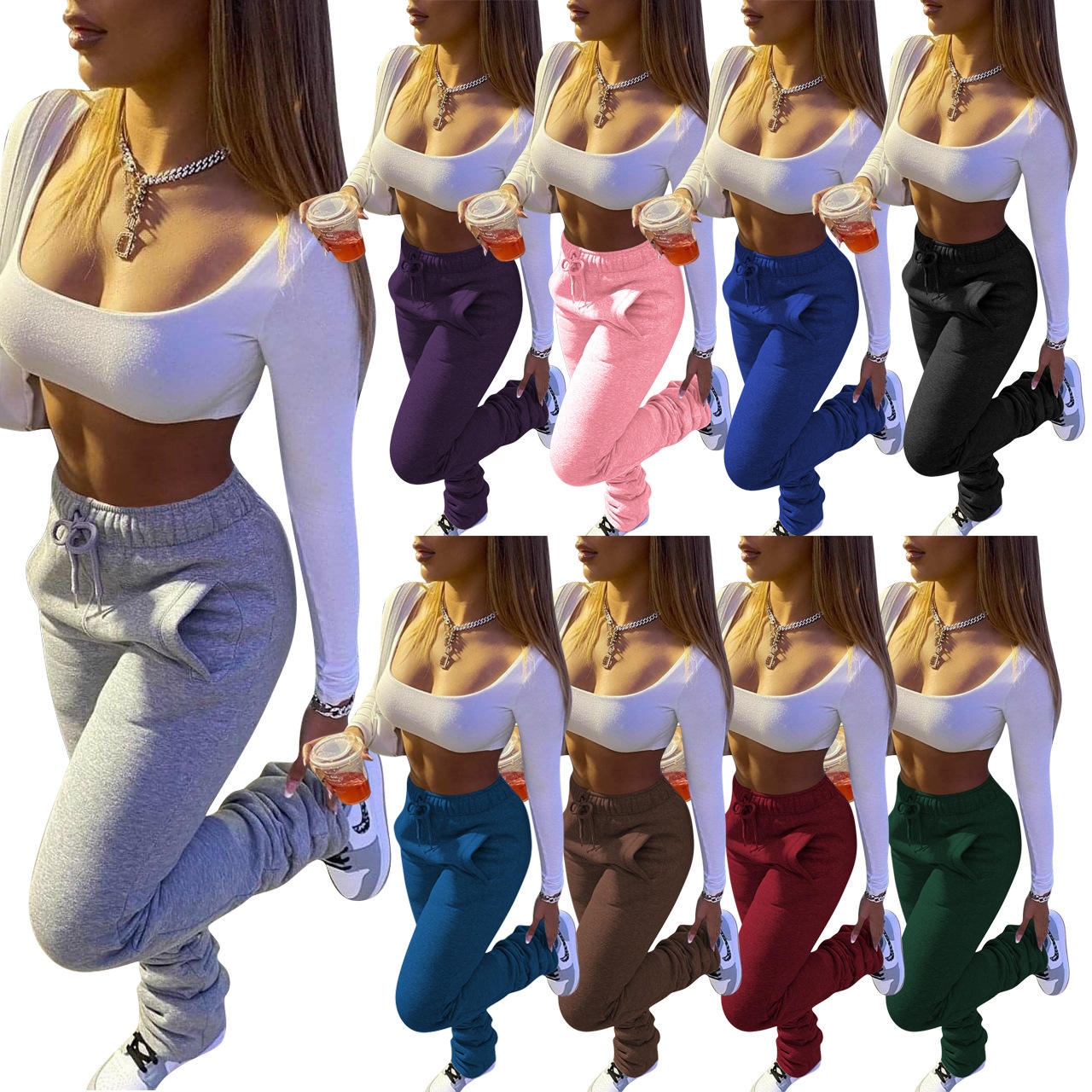 Wholesale winter high waisted drawstring thick ruched stacked sweatpants women
