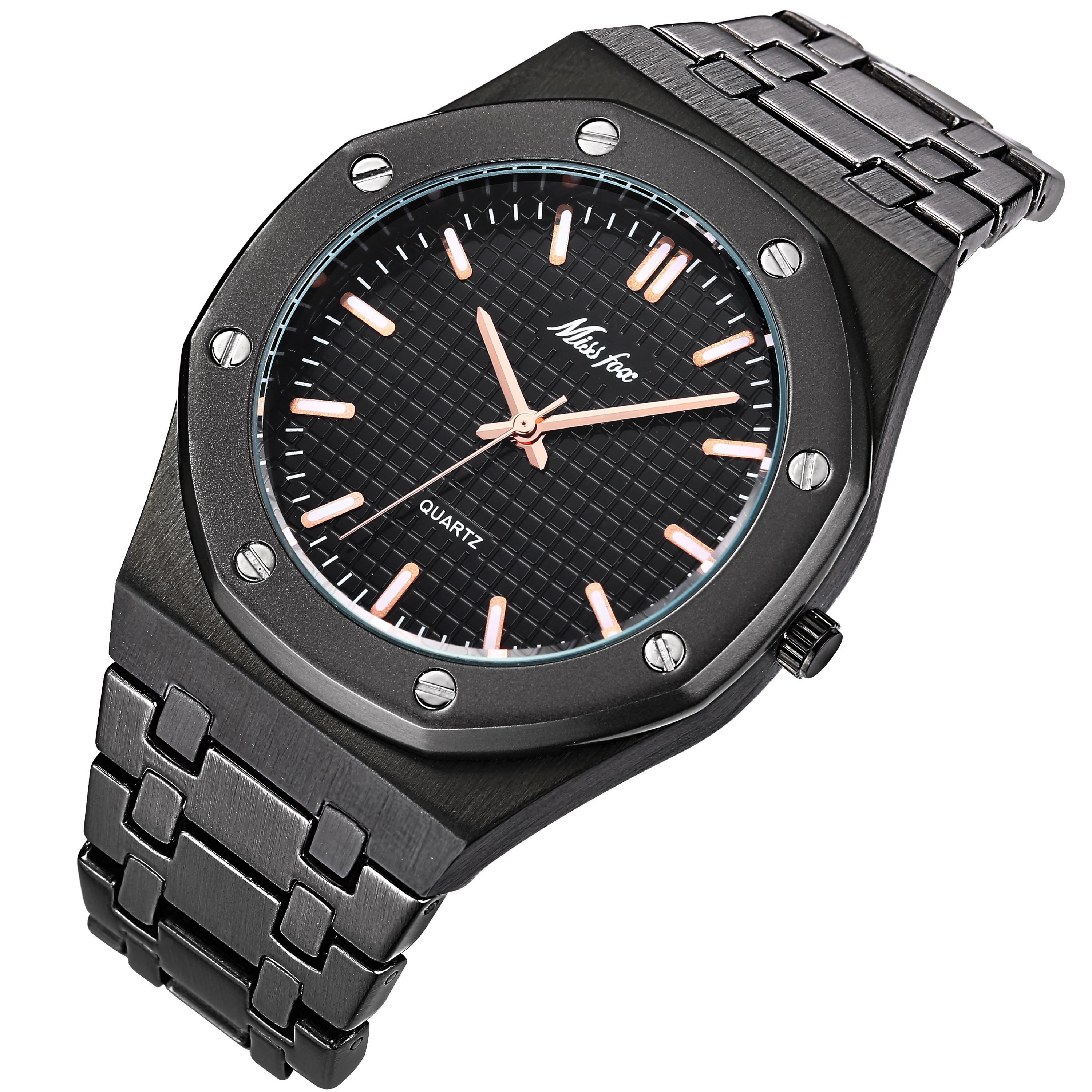 MISSFOX Men Watches Oem Custom Logo Rose Gold Dial Quartz Japan Movt Waterproof All Black Ap Watch Men 2503