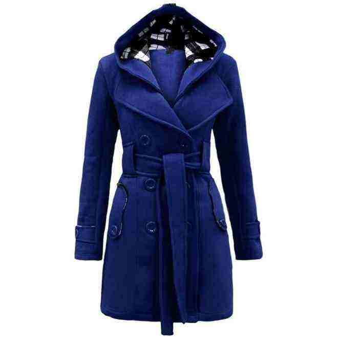 Wholesale Europe and the United States new plaid hooded coat belt double-breasted long winter warm coat