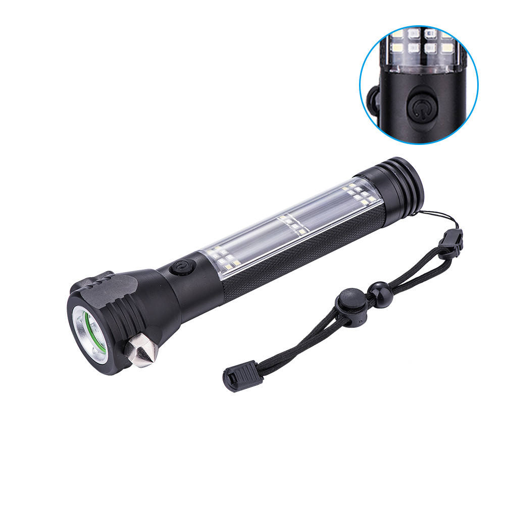 Sales Rechargeable Flashlight Emergency Self Defensive Tactical Safety Hammer Seat Belt Cutter New Popular Solar Flashlight