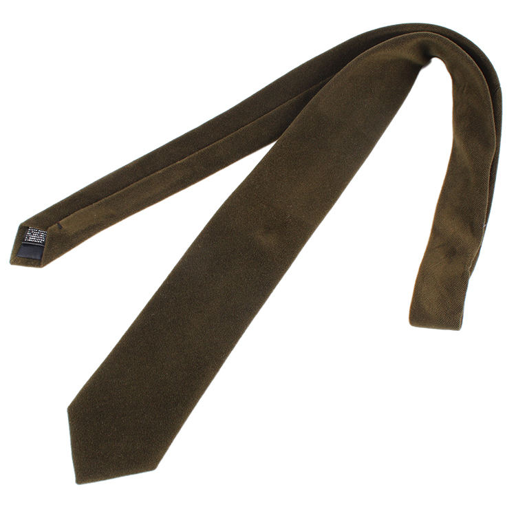 Dacheng Wholesale Winter Thicken Solid Cravatta Army Green Mens Necktie Brushed Tie