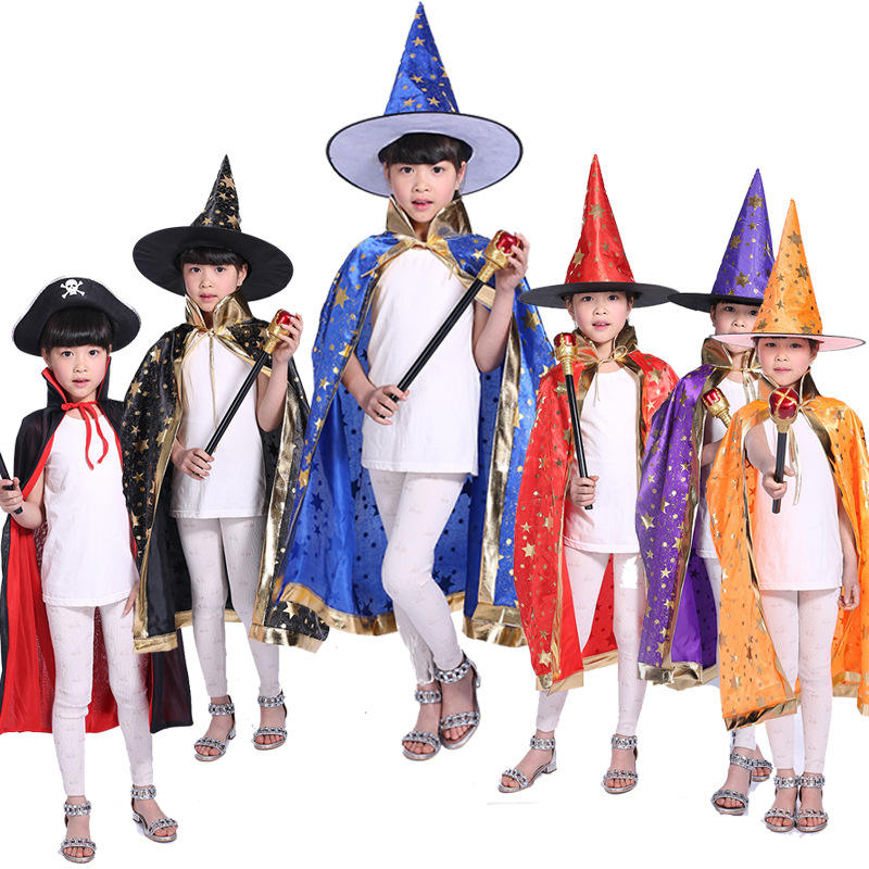 Halloween all ages kids dress up costume printed golden gold star dots hat & cape
