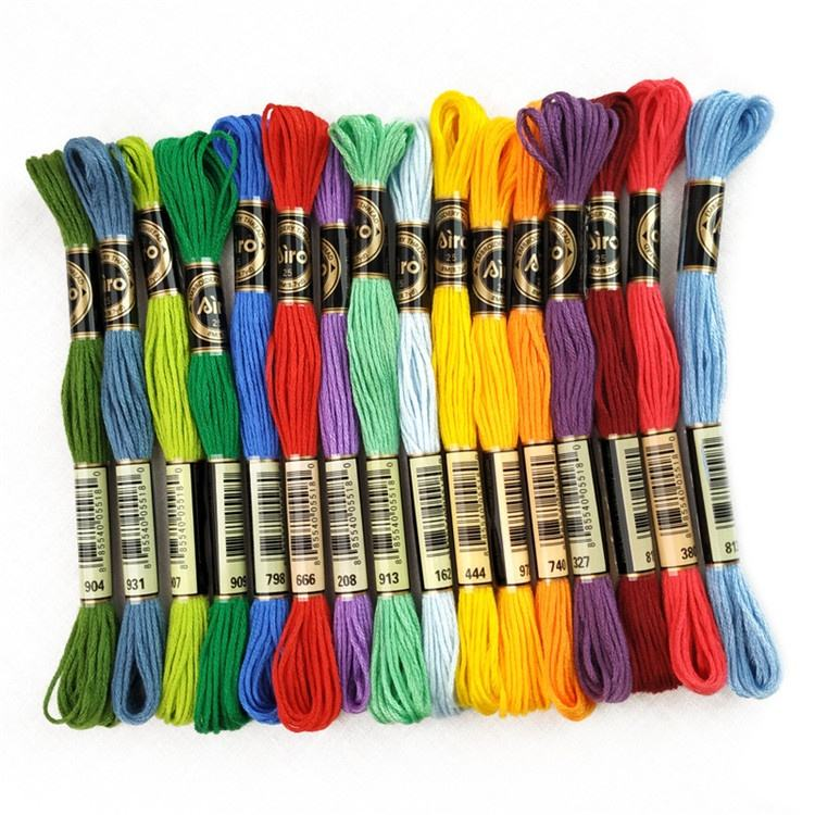 100pcs Wholesale Eco-friendly Handmade Colorful Woven Cotton Cross Stitch Embroidery Threads