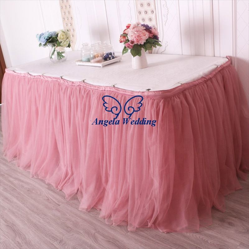 SK005K New arrival nice color puffy bridal 6ft rectangle tutu Custom made dusty pink 17ft long tulle table skirt