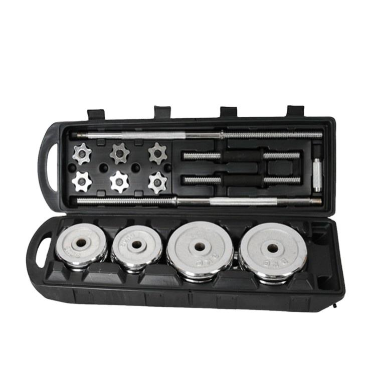 China gym home used chrome baking adjustable 50kg dumbbell and barbell sets