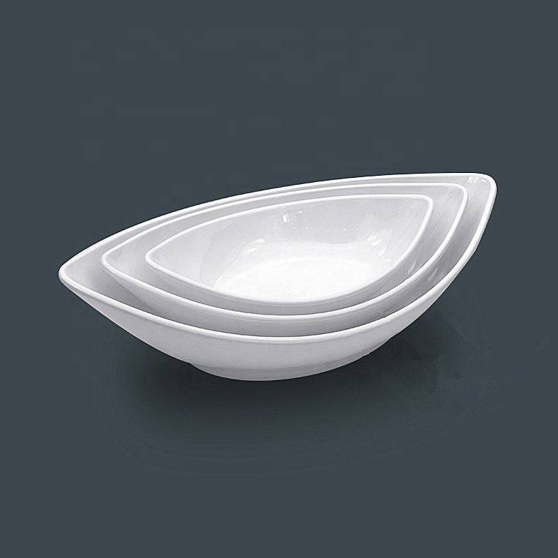 100% melamine unbreakable plastic boat shaped white salad soup dinner serving bowl set