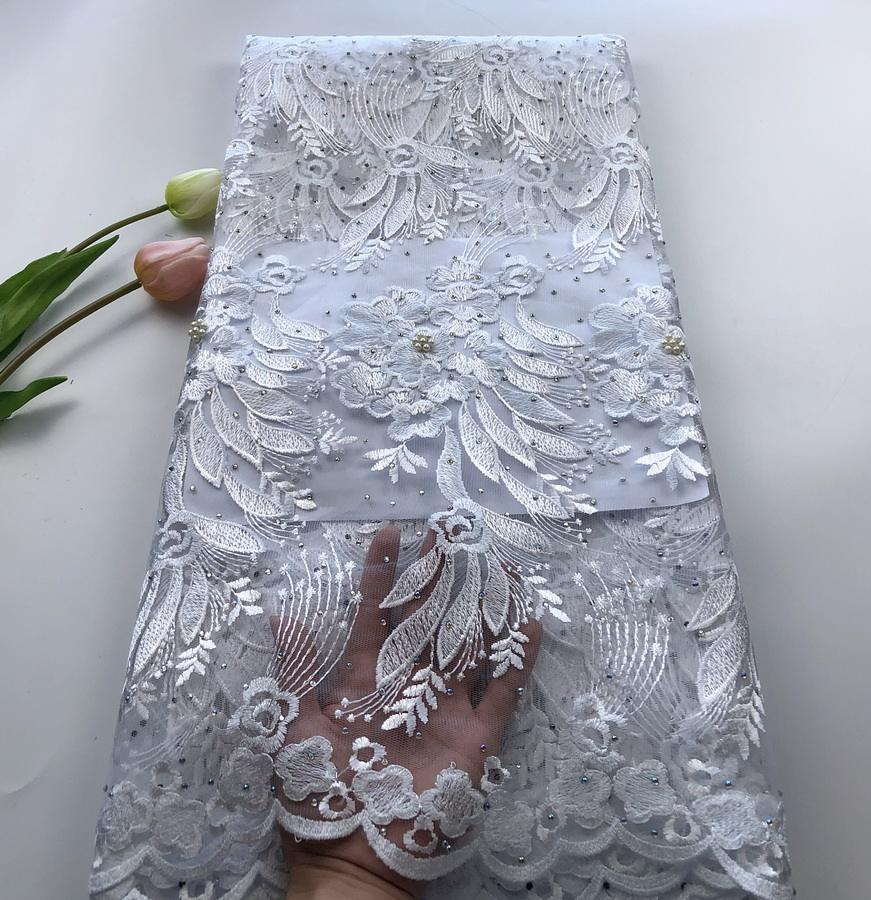 Pure white french lace female shining lace fabric wholesale lace material for wedding
