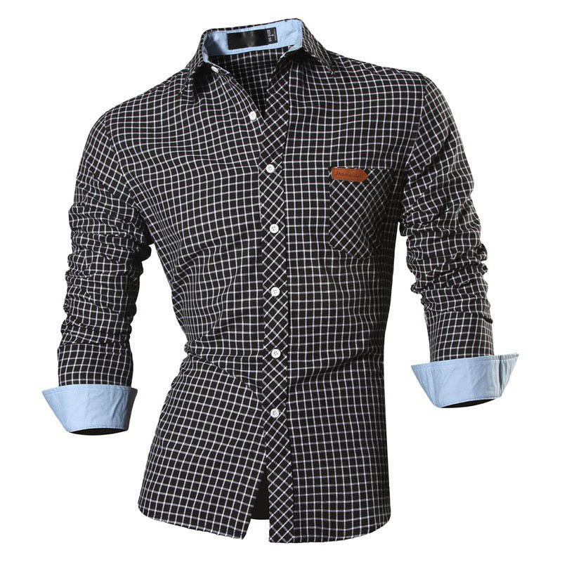 High Quality Man Shirts Cotton Long Sleeve Solid Color Luxury Men's Vocational Shirt Green Checks White Male Clothes Camisas