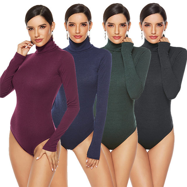 Spring new large size temperament high-neck solid color long-sleeved bodysuit