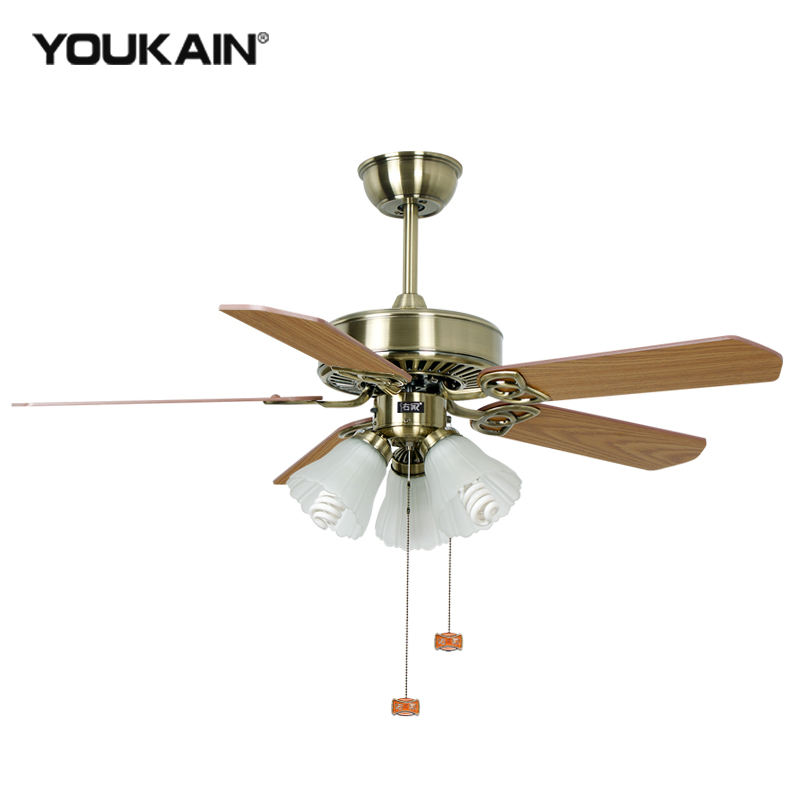 Iron design decoration light ceiling fan pull chain speed controls switch orient ceiling fan with light