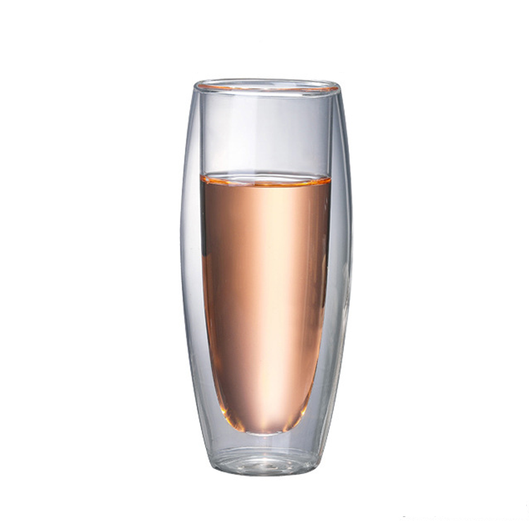 Double Wall Borosilicate Footless Champagne Cup Clear Wine Glass for Home Bar