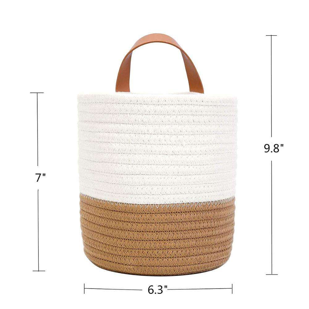 QJMAX Set Of 2 Wall Hanging Small Cotton Rope Handle Storage Baskets