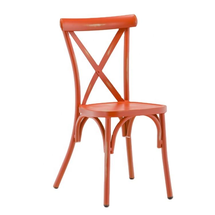 Antique Dining Chair And Furniture Casting Patio Indoor Furniture French Canopy Metal Retro Red Chair