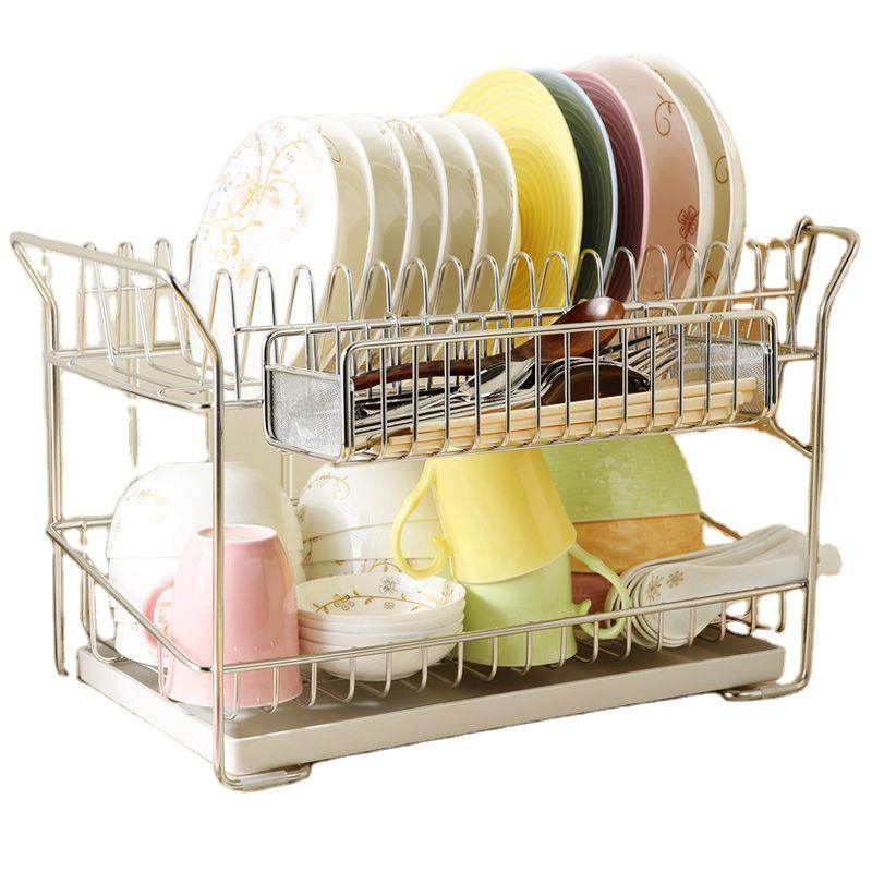 Factory Direct Sale New Design 2 Tier Kitchen Metal Stainless Steel Solid Bowl and Dish Rack Dinnerware Holder