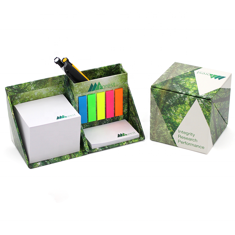 Promotional fashionable design colorful Customized Sticky Notes Cube Memo Pad printing with pen holder box set
