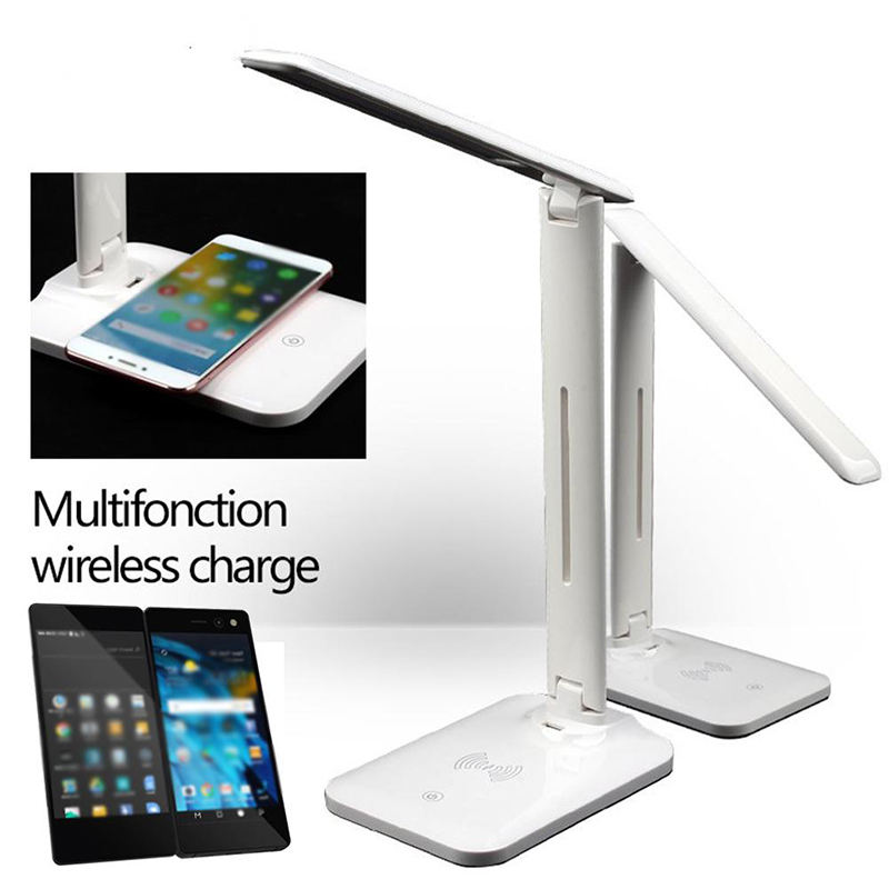 New technology 2021 LED Table desk Lamp with 10W QI Wireless Fast Phone Charger Table Reading Light portable charger