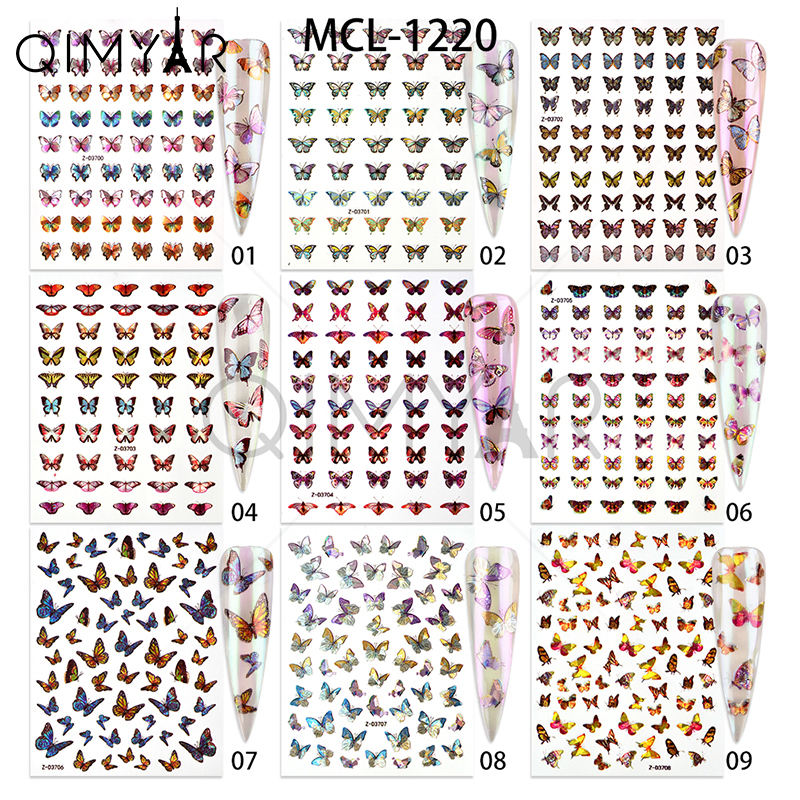 2020 Newest 18 nail designs Laser Butterfly holographic adhesive butterfly nail stickers 3d nail decals