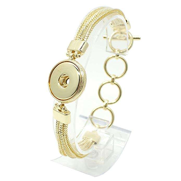 Interchangeable Snap Jewelry Gold Toggle Bracelet Holds 18-20mm Snaps