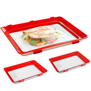 4Pcs Reusable Creative Storage Plates Containers Airtight Food Preservation Tray with Lids