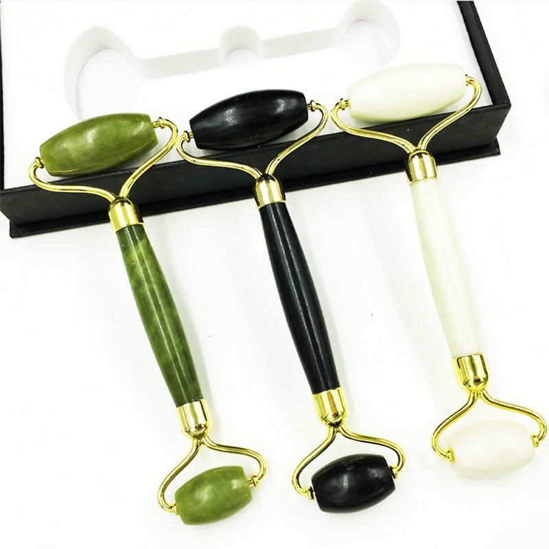 Manufacturers sell natural jade roller beauty container thin face massager double head jade roller facial massager