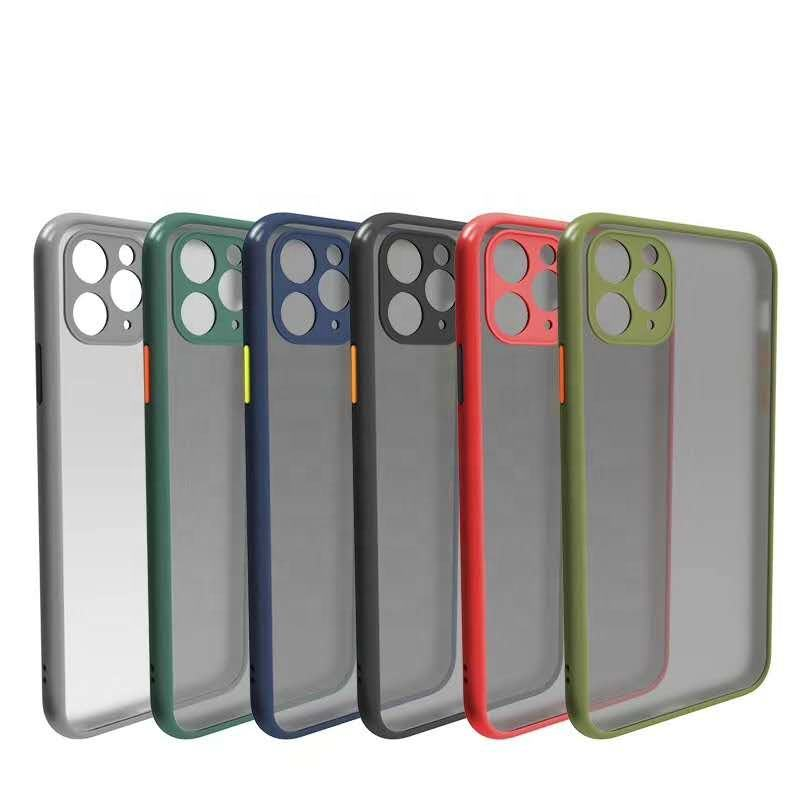 2020 Latest Frosted PC+TPU Translucent Multi-color Frame Shockproof Mobile Phone Case For Iphone 11 pro max