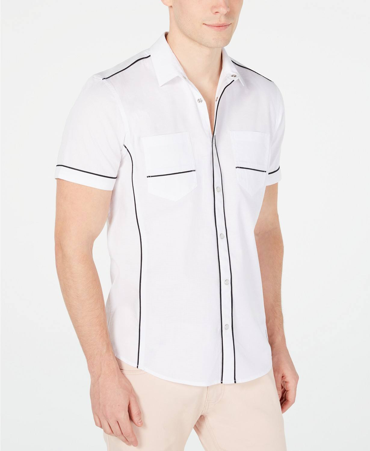 OEM garment factory Summer style Men's Piped Ripstop Shirt in short sleeves