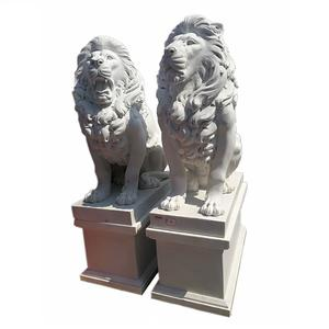 White Marble Sitting Large Lion Statues Sculpture Outdoor