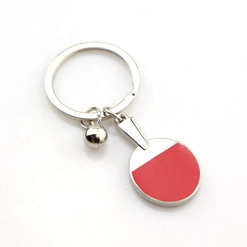 2020 Personalized gifts Table Tennis Shape Keychain Promotion Table Tennis Sport Gift Metal Ping-Pong Bats Keychain for Souvenir