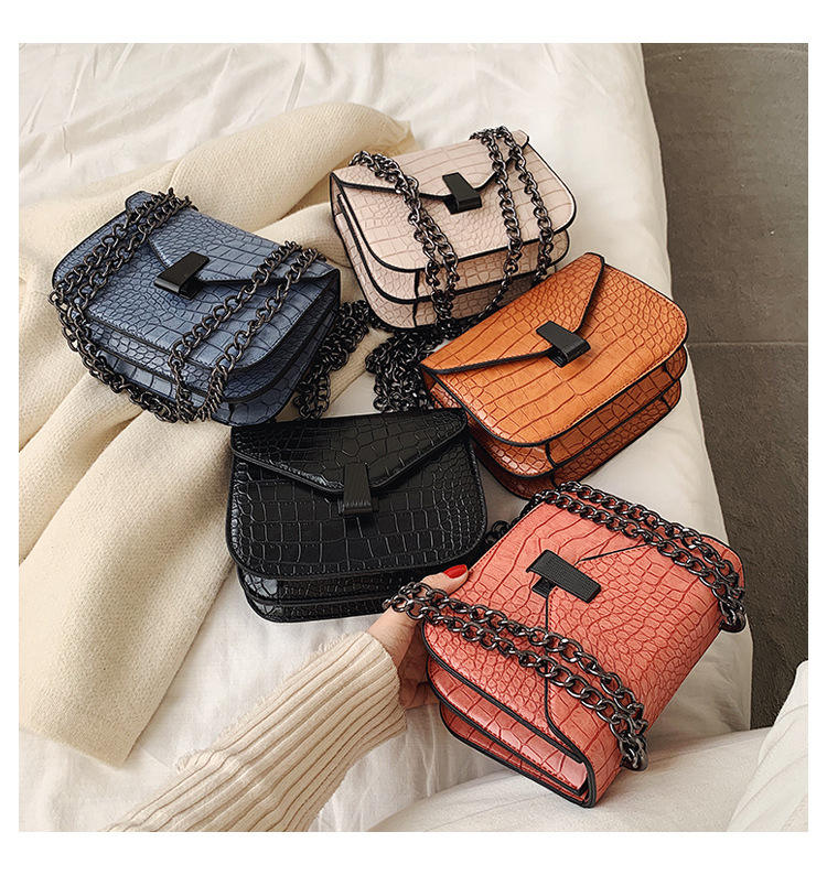 2020 New Arrival Stock Fashionable Plain Color Crocodile Pu Leather Bag Square Shoulder Crossbody Bag For Girls