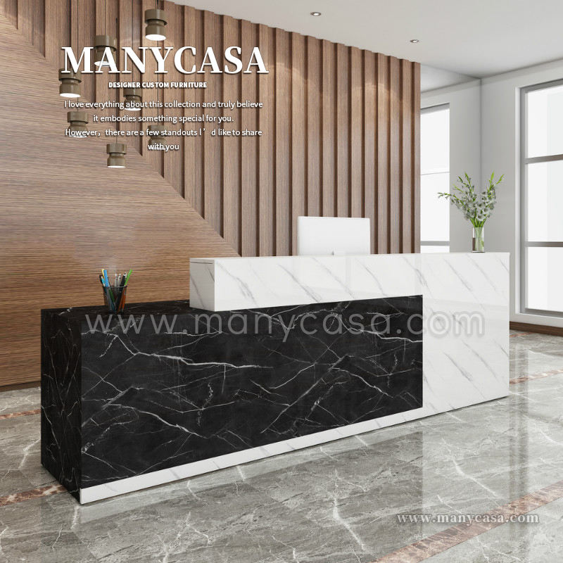 Boutique High Gloss Hotel Office Reception Modern Marble Desk Elegant Hotel Reception Desk