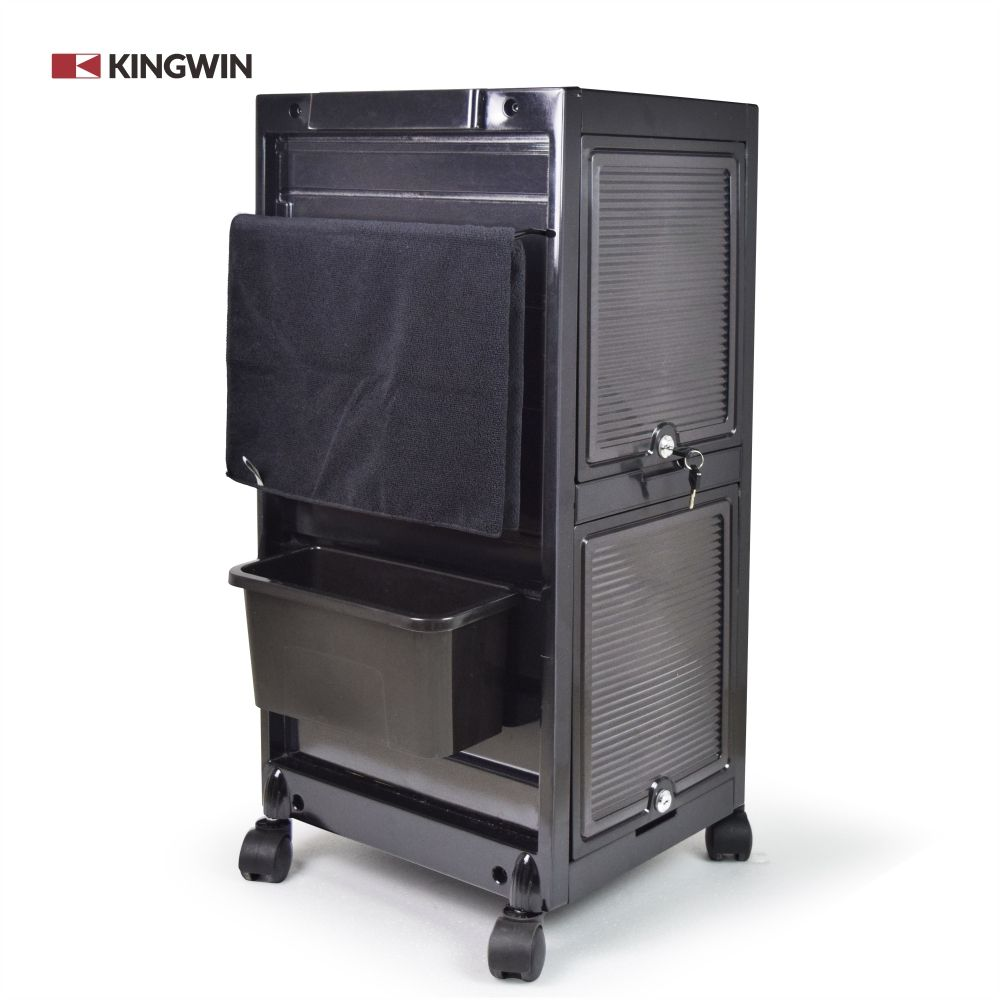 Professional Black Lockable Hair Salon Trolley For Beauty Salon Factory Price