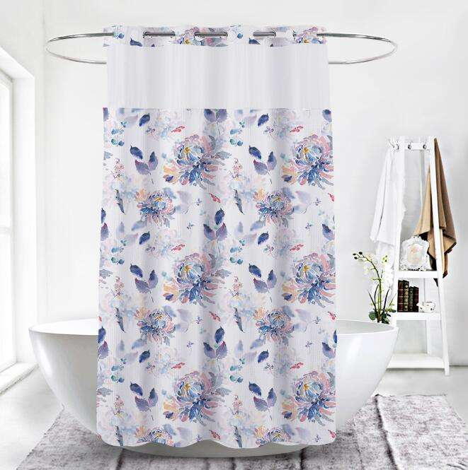 Hookless Print Shower Curtain with Removable Polyester Shower Curtain Liner