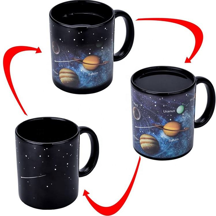 Custom Print Sublimation Blank Magic Heat Changing Coffee Mug Solar System Ceramic Heat Sensitive Color Changing Cup