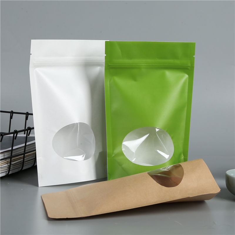 Food Grade Doypack Ziplock Brown White Kraft Paper Up Bag Zipper And Clear Window