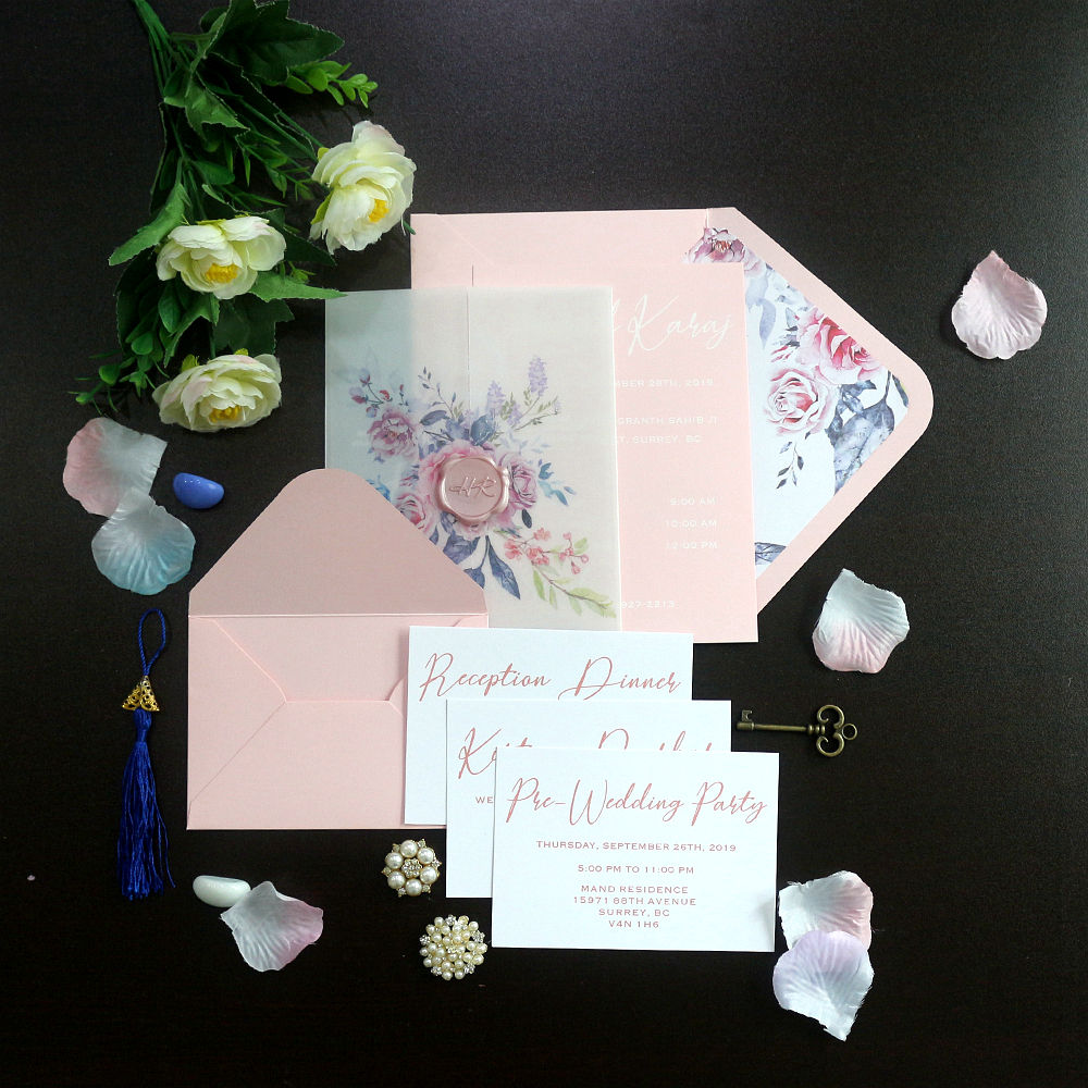 wedding Invitations Cards with Envelopes and Printed Inner Sheets for Bridal Shower Invite Baby Shower Invitations
