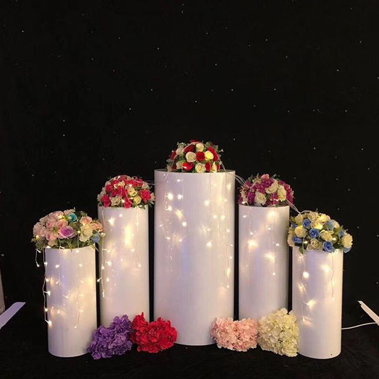 Wedding Decoration Use White Acrylic Round Aisle Stands Set Flower Stands For Luxury Event