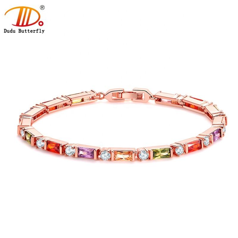 2019 Fashion jewelry women geometric shape colorful zircon charm bracelet with rose gold plated