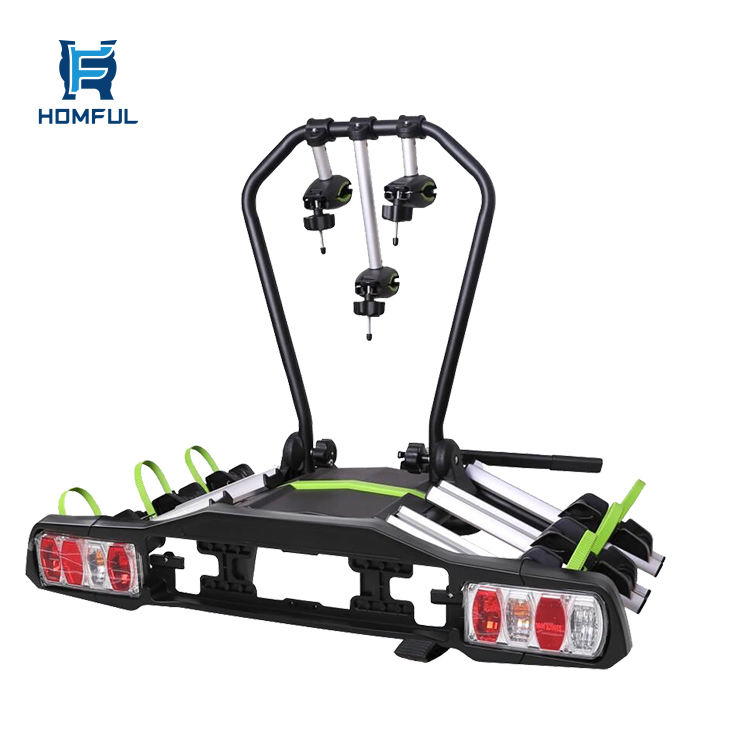 HOMFUL Bicycle Car Rack 3 Bikes Hitch Bicycle Carrier Sedan Outdoor Travel Iron Tube Trunk Mount Bicycle Rack