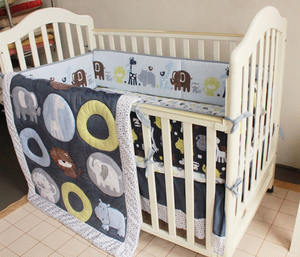 blue animal zoo boy crib bedding set cot bedlinen baby comforter set lion elephant nursery bed set