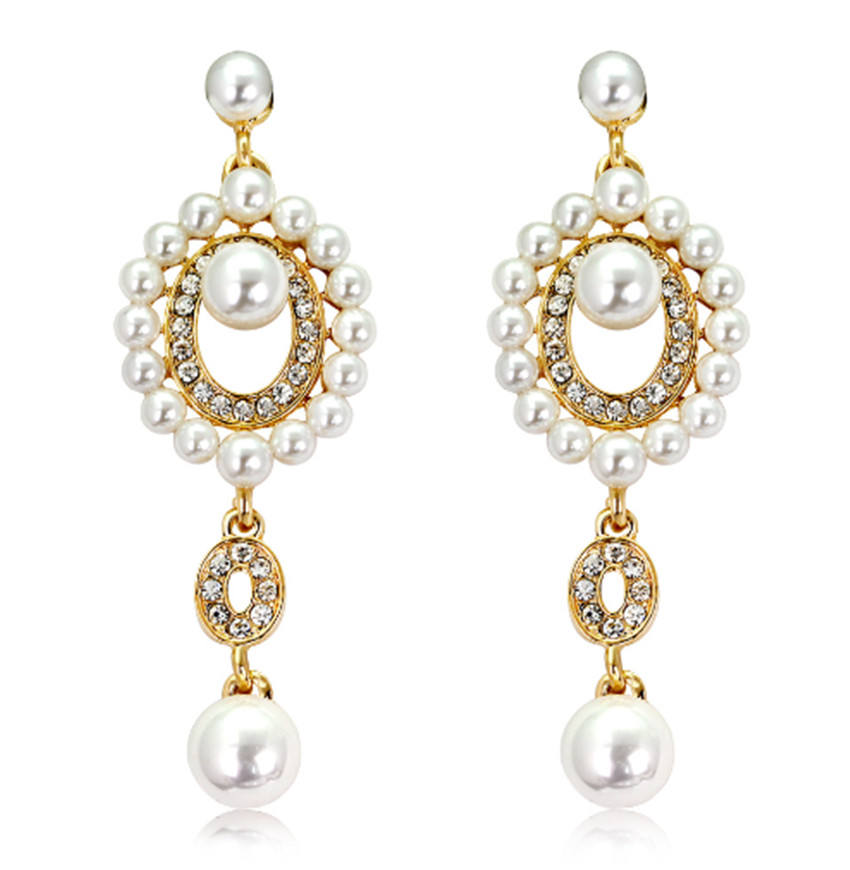 GENYA NEW Forever Faith WomenのAustrian Crystal Simulated Pearl Bridal Dangle Earrings